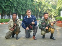 Marko with personal body guards to political leader in Northeast India
