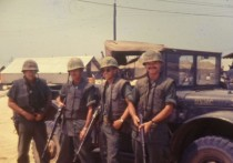 Marko (on left) about to travel with Marines from China Beach to Chu Lai, South Vietnam