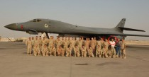 Marko with members of his 379th ECS work center and members of the B-1 crew